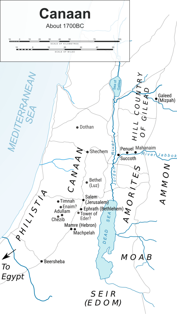 Joseph: maps (Map of Canaan)