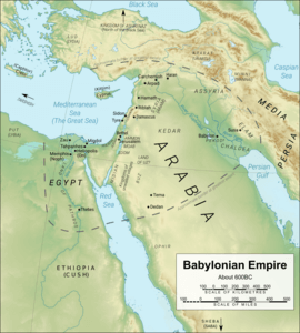 Colour map of Babylonian Empire around 600BC (derived from a map by Yiyi (https://commons.wikimedia.org/wiki/User:Yiyi) of the Middle East (https://commons.wikimedia.org/wiki/File:Near_East_topographic_map_with_toponyms_3000bc-pt.svg) with a CC BY 3.0 licence (https://creativecommons.org/licenses/by/3.0/deed.en)