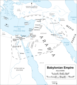 Map of Babylonian Empire around 600BC (derived from a map by Yiyi (https://commons.wikimedia.org/wiki/User:Yiyi) of the Middle East (https://commons.wikimedia.org/wiki/File:Near_East_topographic_map_with_toponyms_3000bc-pt.svg) with a CC BY 3.0 licence (https://creativecommons.org/licenses/by/3.0/deed.en)